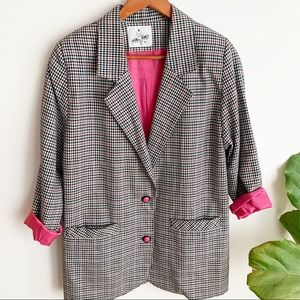 Vtg Oversized Jacket Blazer Houndstooth Pink Black